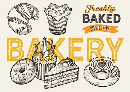 Bakery illustration - cake, donut, croissant, cupcake, muffin for restaurant.
