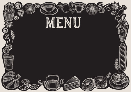 Chalkboard menu template for restaurant.