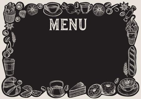 Chalkboard menu template for restaurant. Vector Illustration