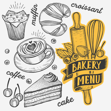 Bakery illustration - cake, donut, croissant, cupcake, muffin for restaurant. Vector hand drawn poster for food cafe and pastries truck. Design with lettering and doodle vintage graphic. Vettoriali