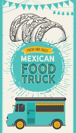Mexican illustrations - burrito, tacos, quesadilla for food truck. Vector hand drawn poster for cafe and bar. Design with lettering and doodle vintage graphic.