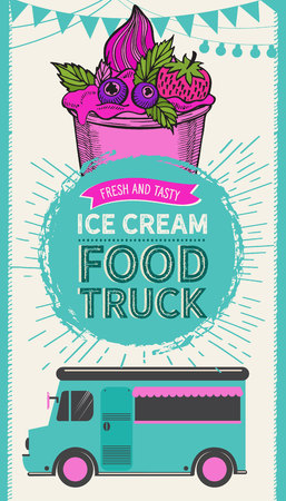 Ice cream illustration for food truck on vintage background. Vector hand drawn gelato icons for dessert cafe. Design with lettering and doodle graphic fruits and sweets.