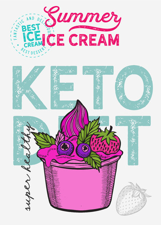 Ice cream illustration for keto diet on vintage background. Vector hand drawn gelato icons for food and dessert cafe. Design with lettering and doodle graphic fruits and sweets. 版權商用圖片 - 122899744