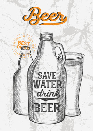 Beer illustration - glass, bottle, can for restaurant on vintage Stock Vector - 125199141