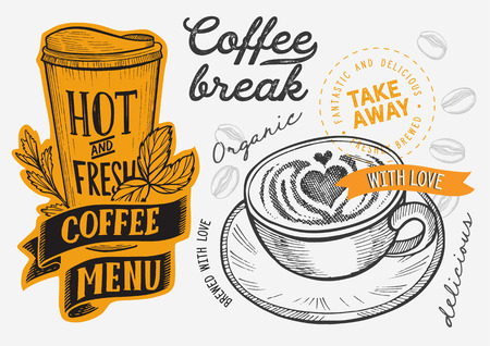 Coffee illustration for restaurant on vintage 向量圖像