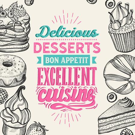 Dessert illustration - cake, donut, croissant, cupcake, muffin for bakery restaurant. 向量圖像