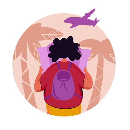 Young woman tourist with backpack traveling during holiday trip. Looking the map to find new adventures.Vacation concept tropical background.Vector illustration with flat cartoon characters. Stock Illustratie