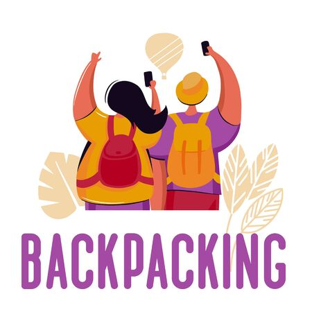 Couple of young people, man and woman with backpacks traveling on holiday trip 스톡 콘텐츠 - 128898059