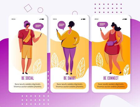 Young people, man and woman chatting on social media network with friends.Using smartphone surfing on web,addicted internet and digital gadgets.Vector illustration flat cartoon character.Mobile app.