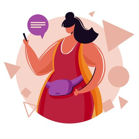 Young woman chatting on social media network with friends.Surrounded by message bubbles,girl addicted to internet and digital gadgets.Vector illustration with flat cartoon character. 版權商用圖片 - 128021102