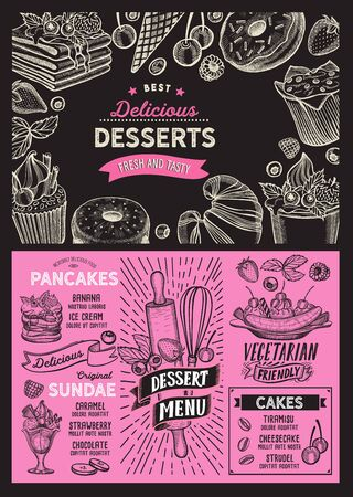 Dessert menu template for restaurant on background vector illustration brochure for food and drink cafe. Layout with vintage lettering and doodle hand-drawn graphic icons.