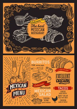 Mexican menu template for restaurant on a blackboard background vector illustration brochure for food and drink cafe. Design layout with lettering and doodle hand-drawn graphic icons. Archivio Fotografico - 130173479