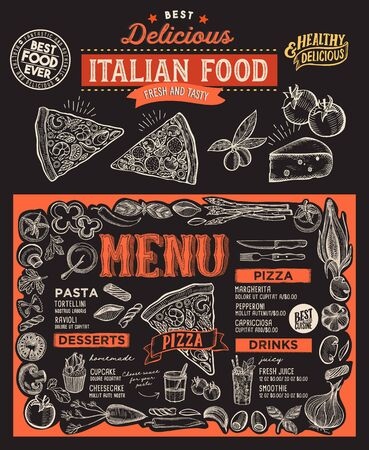 Pizza menu template for restaurant on a blackboard background vector illustration brochure for food and drink cafe. Design layout with vintage lettering and doodle hand-drawn graphic. 向量圖像