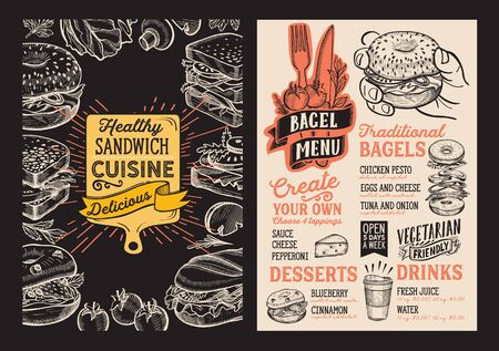 Bagel and sandwich menu template for restaurant on a blackboard background vector illustration brochure for food and drink cafe. Design layout with lettering and doodle hand-drawn graphic icons.