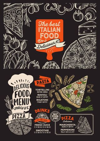 Pizza menu template for restaurant on a blackboard background vector illustration brochure for food and drink cafe. Design layout with vintage lettering and doodle hand-drawn graphic. Çizim