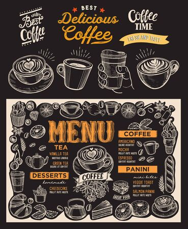 Coffee menu template for restaurant on a blackboard background vector illustration brochure for food and drink cafe. Design layout with vintage lettering and doodle hand-drawn graphic icons. Banque d'images - 132077351