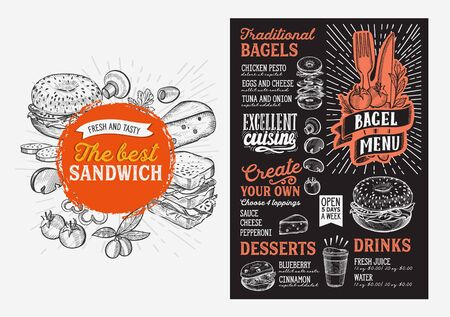 Bagel and sandwich menu template for restaurant on a blackboard background vector illustration brochure for food and drink cafe. Design layout with lettering and doodle hand-drawn graphic icons. Banque d'images - 132077354