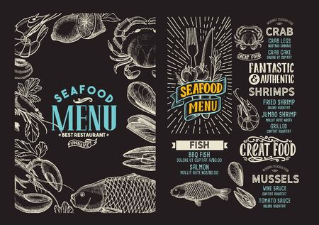 Seafood menu template for restaurant on a blackboard background vector illustration brochure for food and drink cafe. Design layout with vintage lettering and doodle hand-drawn graphic icons.