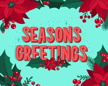 Christmas and New Year background for holiday party. Vector illustration hand-drawn lettering season wishes with festive colorful elements.  イラスト・ベクター素材