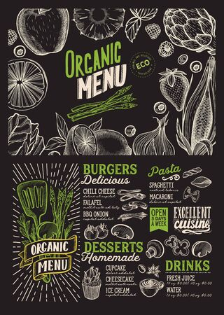 Organic menu template for vegetarian restaurant on a blackboard background vector illustration brochure for food and drink cafe. Design layout with vintage lettering and doodle hand-drawn graphic icons.