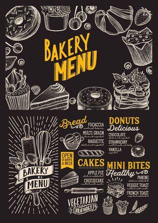 Modèle de menu de boulangerie pour restaurant sur une brochure d'illustration vectorielle de fond de tableau noir pour un café de nourriture et de boisson. Disposition de conception avec lettrage vintage et graphique dessiné à la main de griffonnage. Vecteurs