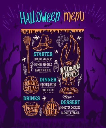 Halloween menu with holiday decorations. Vector illustration brochure for witch, costumes, horror food party. Design template with vintage lettering and hand-drawn graphic elements, pumpkin, zombie.
