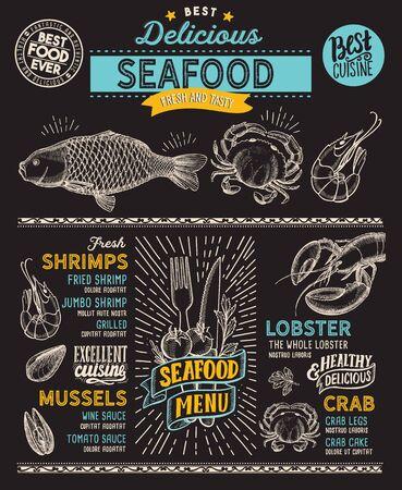 Meeresfrüchtemenüschablone für Restaurant auf einer Tafelhintergrundvektorillustrationsbroschüre für Speisen- und Getränkecafé. Design-Layout mit Vintage-Schriftzug und handgezeichneten Doodle-Grafiksymbolen.