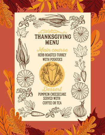 Menú de acción de gracias con folletos de ilustración de vector de verduras de otoño para la celebración de la cena. Diseño de plantilla de comida con letras vintage y elementos gráficos dibujados a mano, pavo, calabaza.