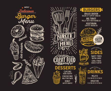 Burger menu template for restaurant on a blackboard background vector illustration brochure for food and drink cafe. Design layout with lettering and doodle hand-drawn graphic icons. Foto de archivo - 130815902