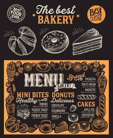 Plantilla de menú de panadería para restaurante en un folleto de ilustración de vector de fondo de pizarra para cafetería de comida y bebida. Disposición de diseño con letras vintage y gráficos dibujados a mano de doodle.