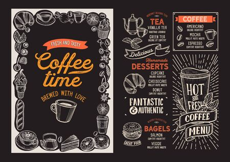 Coffee menu template for restaurant on a blackboard background vector illustration brochure for food and drink cafe. Design layout with vintage lettering and doodle hand-drawn graphic icons. Stock Illustratie