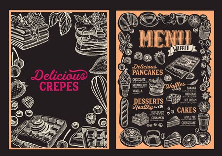 Waffle and pancake menu template for restaurant on background vector illustration brochure for food and drink cafe. Design layout with vintage lettering and doodle hand-drawn graphic icons. Foto de archivo - 130815920