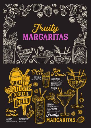 Cocktail menu template for restaurant on a blackboard background vector illustration brochure for food and drink bar. Design layout with vintage lettering and doodle hand-drawn graphic.