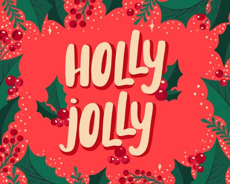 Christmas and New Year background for holiday party. Vector illustration hand-drawn lettering season wishes with festive colorful elements. Foto de archivo - 130815929