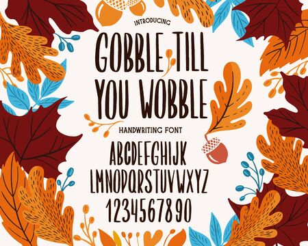 Font thanksgiving day. Typography alphabet with colorful autumn illustrations. Type design for holiday party celebration.