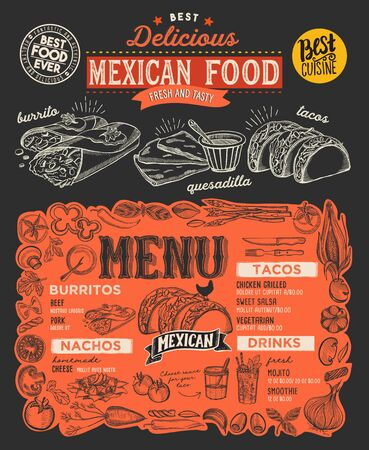 Mexican menu template for restaurant on a blackboard background illustration brochure for food and drink cafe. Design layout with lettering and doodle hand-drawn graphic icons.