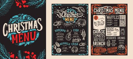 Christmas and New Year food menu template for restaurant on chalkboard background.  illustration for holiday celebration. Design background with hand-drawn lettering and festive vintage graphic.