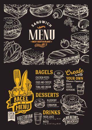 Plantilla de menú de bagel y sándwich para restaurante en un folleto de ilustración de fondo de pizarra para cafetería de comida y bebida. Diseño de diseño con letras y garabatos iconos gráficos dibujados a mano.