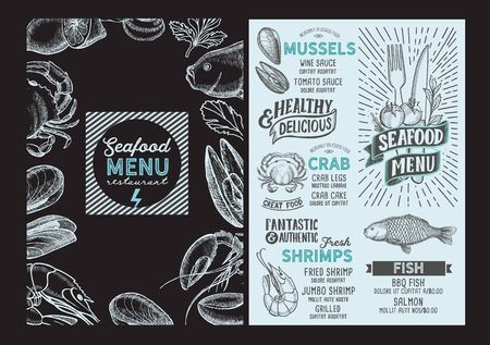 Seafood menu template for restaurant on a blackboard background illustration brochure for food and drink cafe. Design layout with vintage lettering and doodle hand-drawn graphic icons.