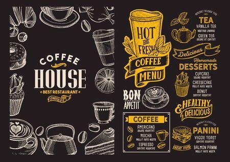 Plantilla de menú de café para restaurante en un folleto de ilustración de fondo de pizarra para cafetería de comida y bebida. Disposición de diseño con letras vintage y garabatos iconos gráficos dibujados a mano.