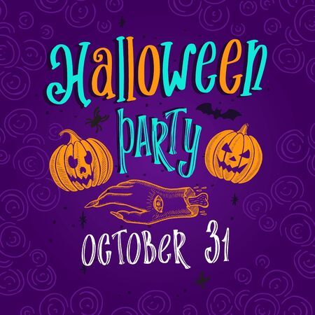 Halloween party background for holiday decoration with pumpkin. illustration banner for witch, costumes, horror event. Design with hand-drawn lettering and spooky graphic elements. Illusztráció