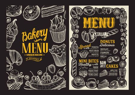 Bakery menu template for restaurant on a blackboard background illustration brochure for food and drink cafe. Design layout with vintage lettering and doodle hand-drawn graphic. Standard-Bild - 131311292