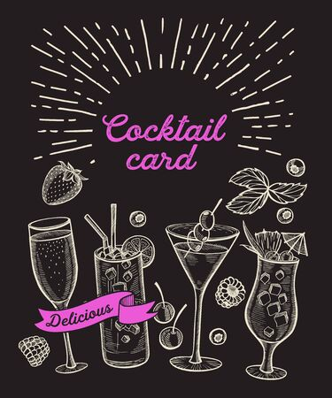 Cocktail illustration - margarita, mojito, gin tonic, mimosa, martini for restaurant. hand drawn alcohol drinks for bar and pub. Design with lettering.