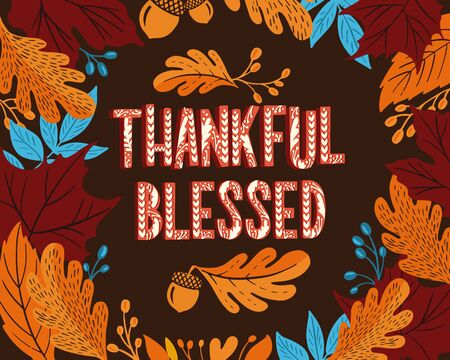 Happy thanksgiving day. Background with colorful autumn illustrations.Poster for holiday celebration. Design banner with vintage lettering and hand-drawn graphic elements. Ilustracja