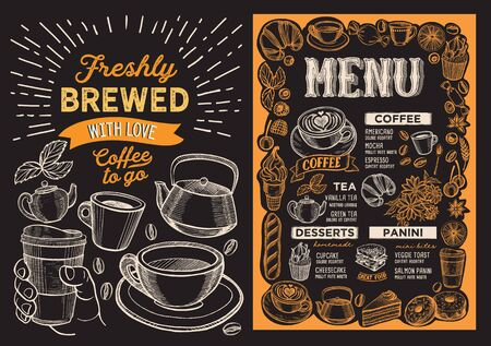 Coffee menu template for restaurant on a blackboard background illustration brochure for food and drink cafe. Design layout with vintage lettering and doodle hand-drawn graphic icons. Vector Illustration