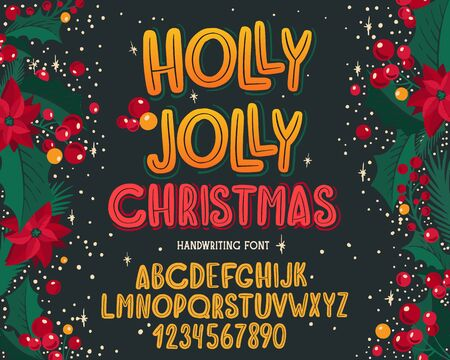 Christmas font. Holiday typography alphabet with season wishes and festive illustrations. Type design for holiday new year celebration. Design background with hand-drawn lettering. Çizim