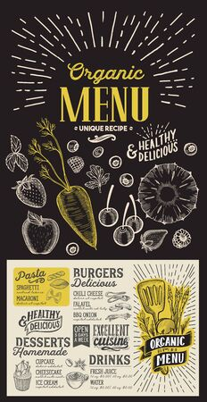 Organic menu template for vegetarian restaurant on a blackboard background illustration brochure for food and drink cafe. Design layout with vintage lettering and doodle hand-drawn graphic icons.