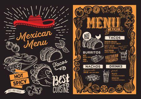 Modèle de menu mexicain pour le restaurant sur une brochure d'illustration de fond de tableau noir pour le café de la nourriture et des boissons. Disposition de conception avec lettrage et icônes graphiques dessinées à la main de griffonnage.