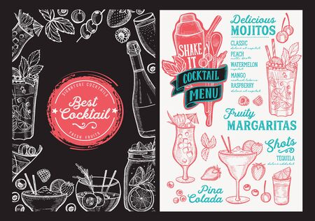 Cocktail menu template for restaurant on a blackboard background illustration brochure for food and drink bar. Design layout with vintage lettering and doodle hand-drawn graphic. Иллюстрация