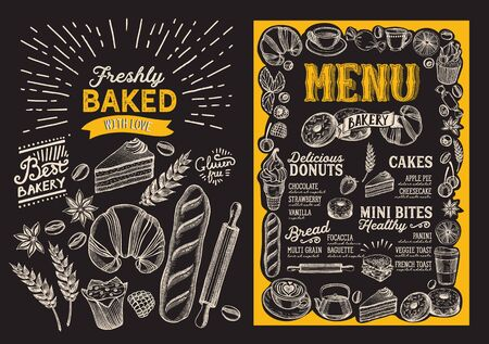 Bakery menu template for restaurant on a blackboard background illustration brochure for food and drink cafe. Design layout with vintage lettering and doodle hand-drawn graphic. Vector Illustration